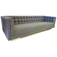 Milo Baughman Midcentury Gray Chesterfield Floating Sofa