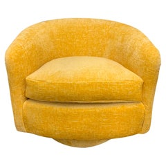 Milo Baughman Midcentury Newly Upholstered Yellow Swivel Chair