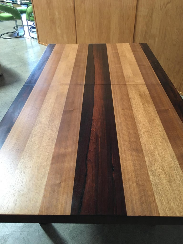 Milo Baughman Mixed Woods Dining Table for Directional For Sale 3