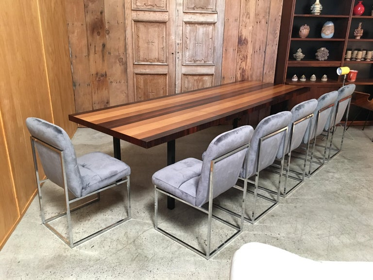 Mid-Century Modern Milo Baughman Mixed Woods Dining Table for Directional For Sale