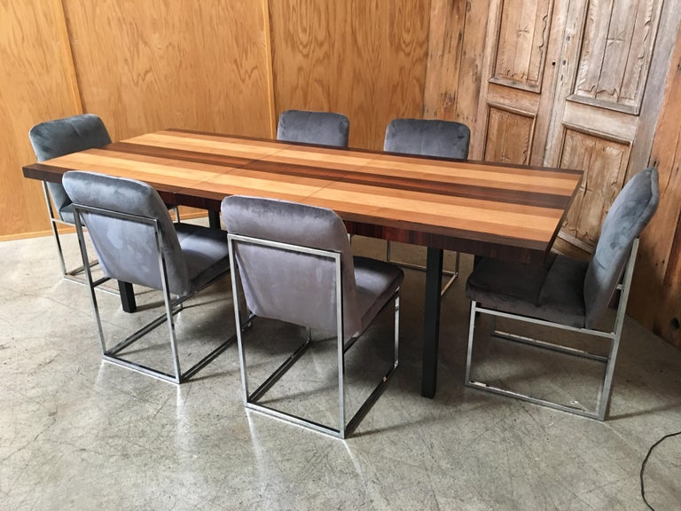 Milo Baughman Mixed Woods Dining Table for Directional In Good Condition For Sale In Laguna Hills, CA