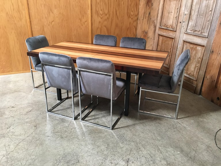 20th Century Milo Baughman Mixed Woods Dining Table for Directional For Sale