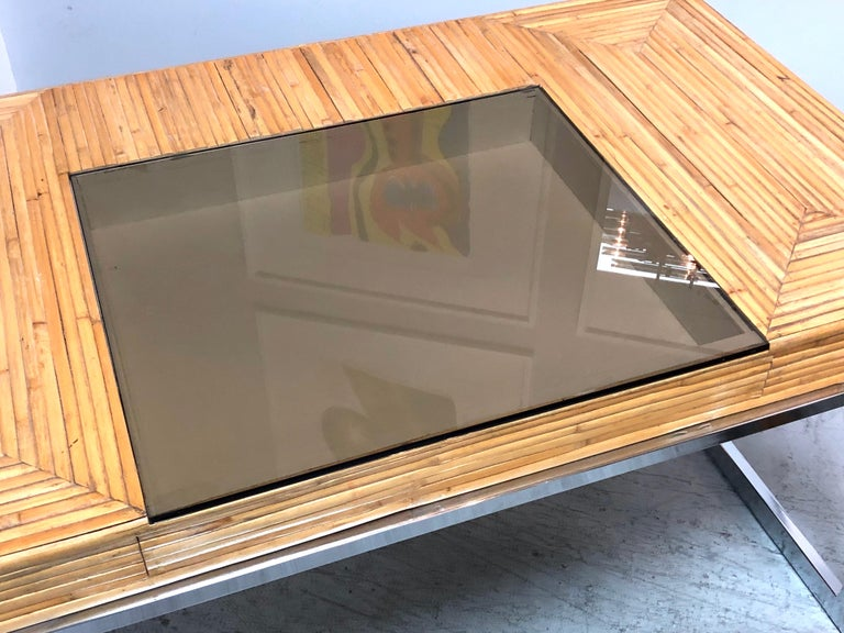 Milo Baughman Modern Bamboo and Chrome Desk, 1970s For Sale 5