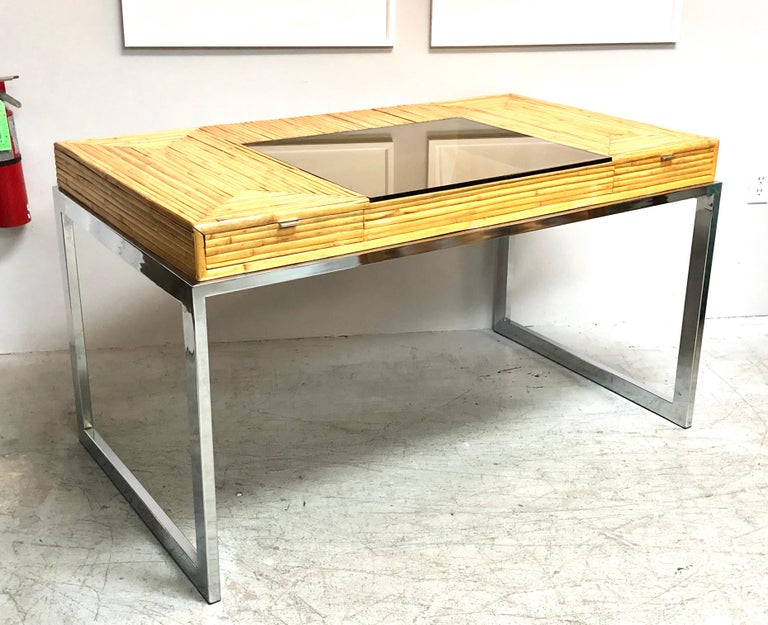 Milo Baughman Modern Bamboo and Chrome Desk, 1970s For Sale 7