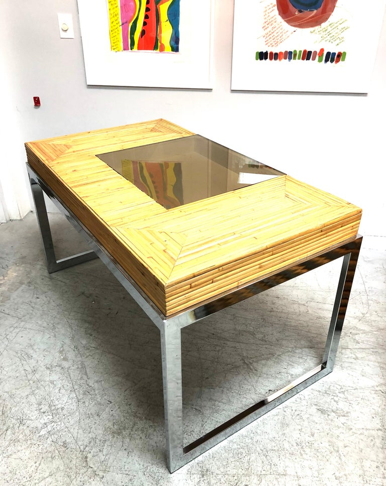 Milo Baughman Modern Bamboo and Chrome Desk, 1970s For Sale 10