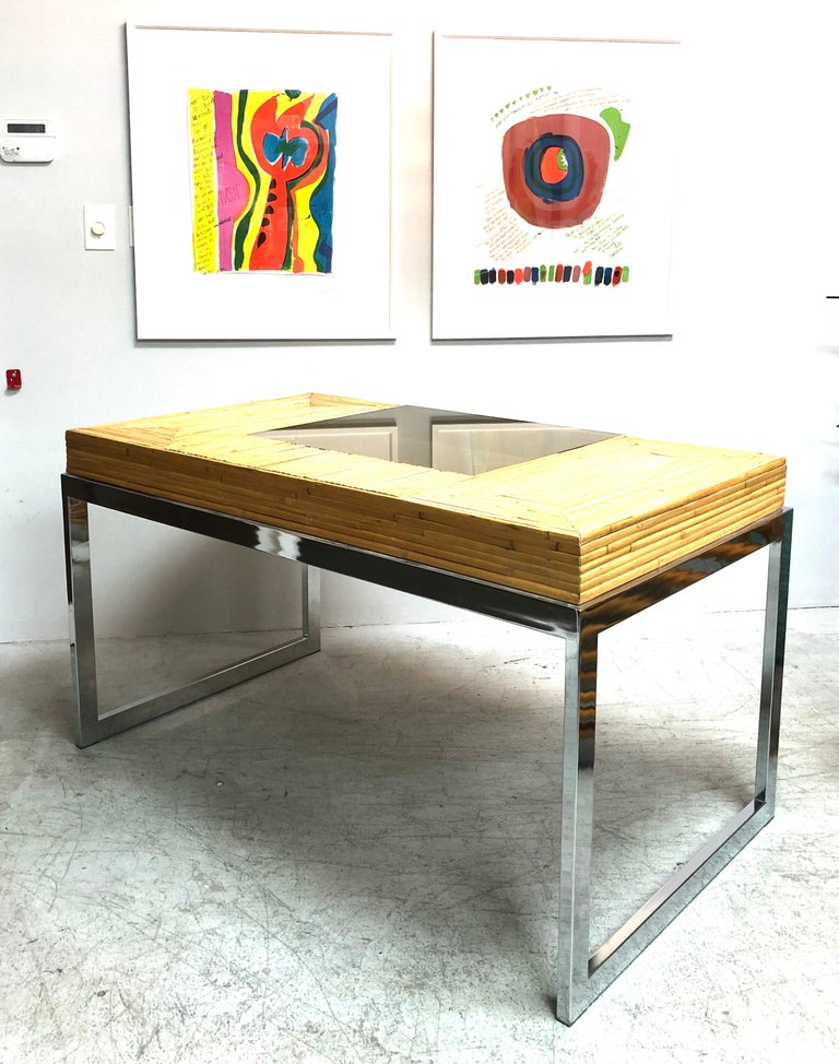 Milo Baughman Modern Bamboo and Chrome Desk, 1970s For Sale 11