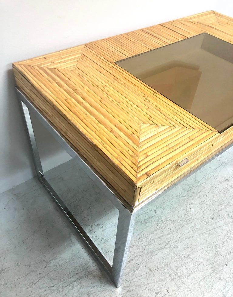 American Milo Baughman Modern Bamboo and Chrome Desk, 1970s For Sale