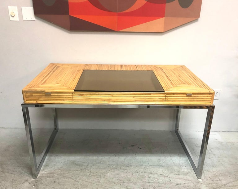 Milo Baughman Modern Bamboo and Chrome Desk, 1970s In Good Condition For Sale In Miami, FL