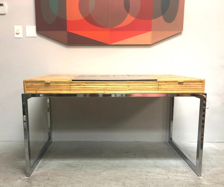 Milo Baughman Modern Bamboo and Chrome Desk, 1970s For Sale 1