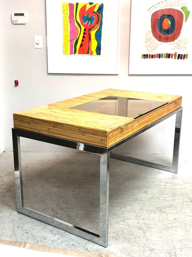 Milo Baughman Modern Bamboo and Chrome Desk, 1970s For Sale 3