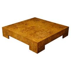 Milo Baughman Monumental Burl Square Coffee Table, 1970, 1980