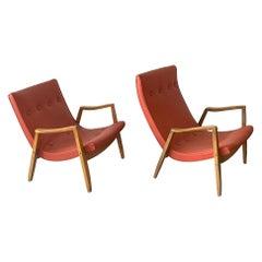 Milo Baughman Oak Scoop Lounge Chairs for James, a Pair