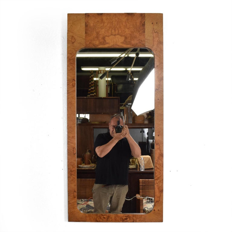 American Roland Carter Olive Burlwood Wall Mirror for Lane 1970s Hollywood Elegance