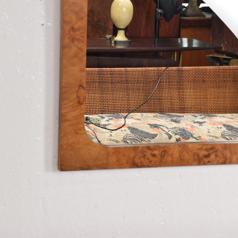 Late 20th Century Roland Carter Olive Burlwood Wall Mirror for Lane 1970s Hollywood Elegance