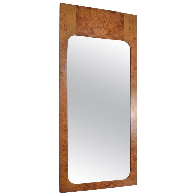 Roland Carter Olive Burlwood Wall Mirror for Lane 1970s Hollywood Elegance