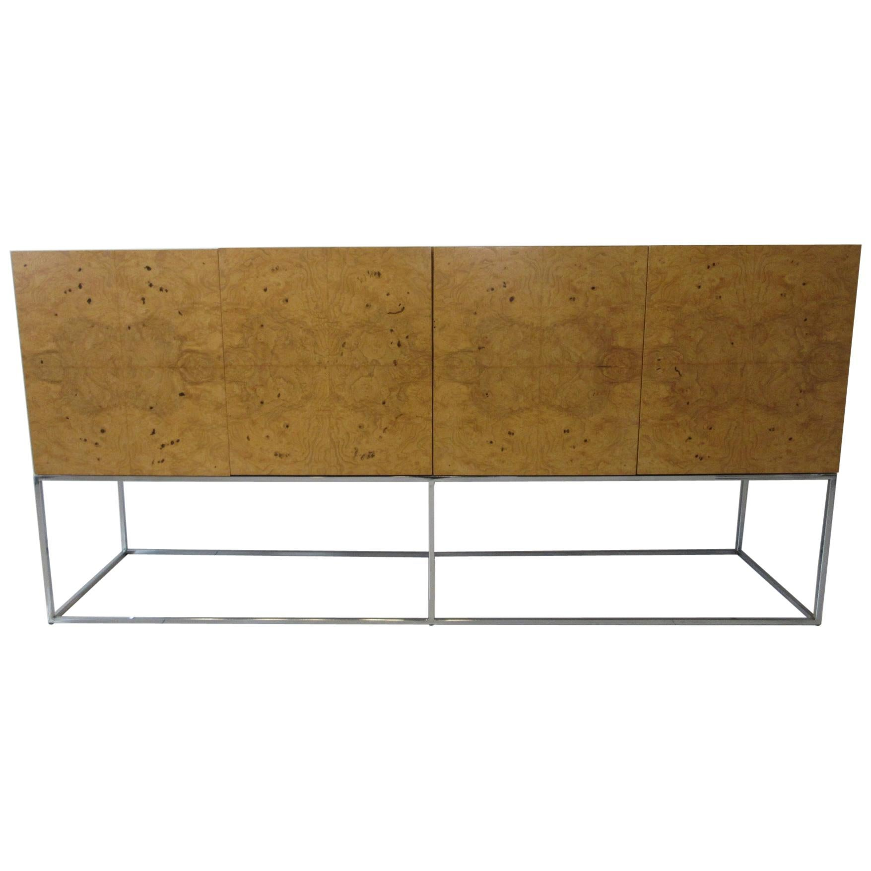 Milo Baughman Olivewood Chrome Credenza or Server by Thayer Coggin