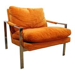 Milo Baughman Orange Lounge Chair by Thayer Coggin Chrome Flat Bar