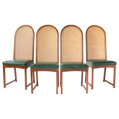 Milo Baughman Oval Back Cane Dining Chairs