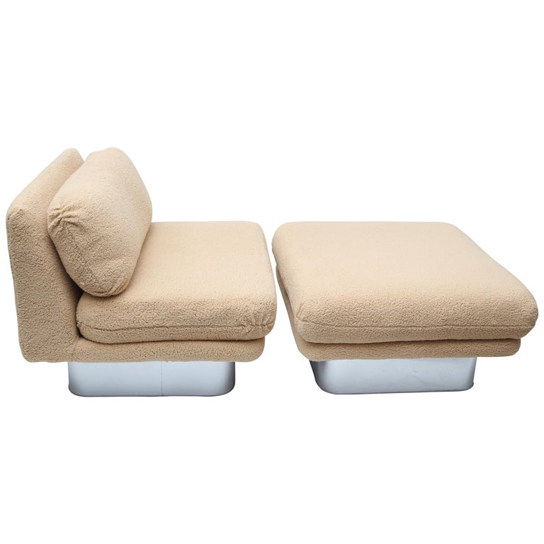 Milo Baughman Oversized Lounge Chair and Ottoman For Sale
