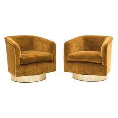 Milo Baughman, Pair of Bronze Velvet Swivel Chairs, USA, 1970s