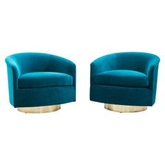 Milo Baughman, Pair of Dark Teal Swivel Chairs with Gold Base, USA