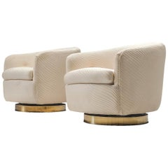 Milo Baughman Pair of Swivel Chairs