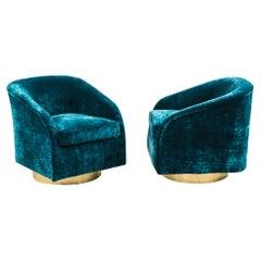Milo Baughman, Pair of Teal Velvet Swivel Chairs, USA