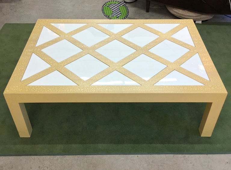 Milo Baughman Parsons Cocktail Table with Yellow Crackle and White Glass For Sale 4