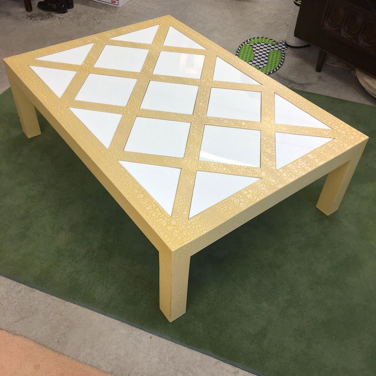 Milo Baughman Parsons Cocktail Table with Yellow Crackle and White Glass For Sale 6