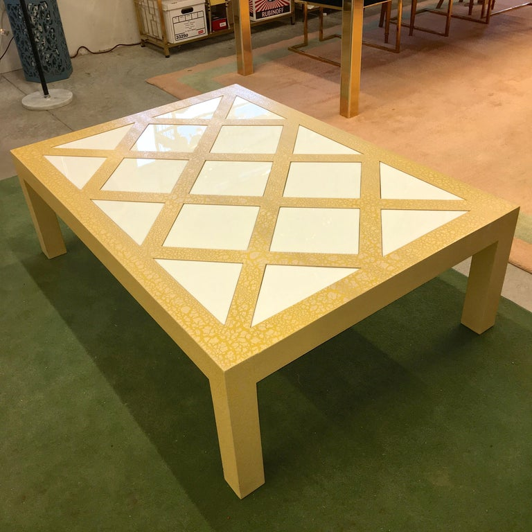 Mid-Century Modern Milo Baughman Parsons Cocktail Table with Yellow Crackle and White Glass For Sale