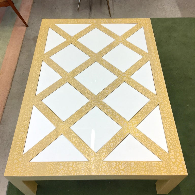 American Milo Baughman Parsons Cocktail Table with Yellow Crackle and White Glass For Sale