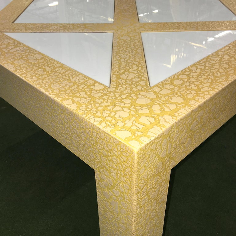 Milo Baughman Parsons Cocktail Table with Yellow Crackle and White Glass In Good Condition For Sale In Hingham, MA