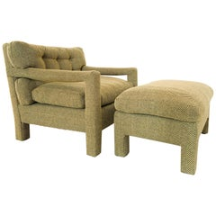 Milo Baughman Parsons Lounge Chair and Matching Ottoman