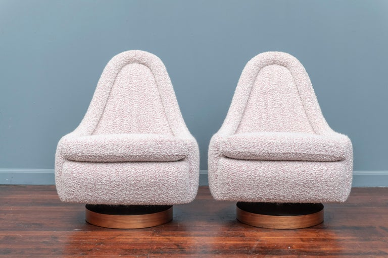 Upholstery Milo Baughman Petite Swivel Tilt Lounge Chairs For Sale