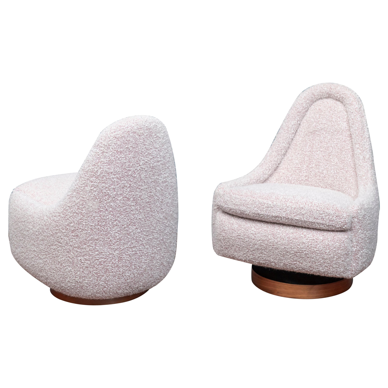 Milo Baughman Petite Swivel Tilt Lounge Chairs