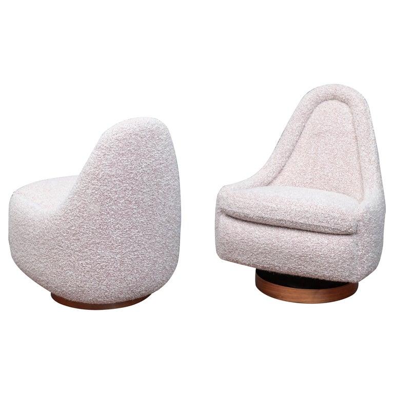Milo Baughman Petite Swivel Tilt Lounge Chairs For Sale