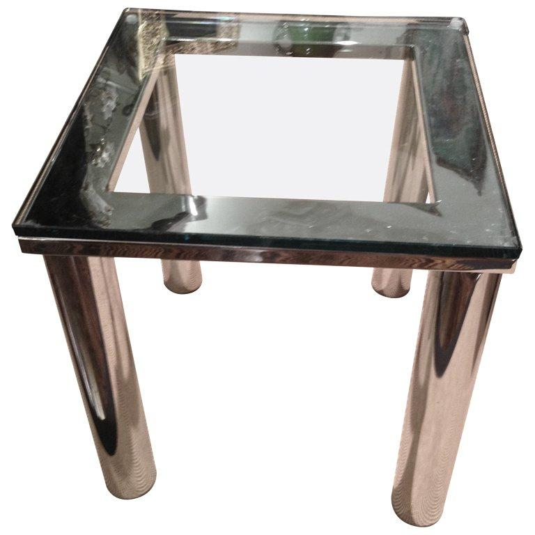 Milo Baughman Style Polished Chrome Glass Small End Table For Sale
