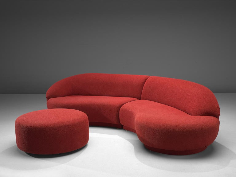 Milo Baughman for Thayer-Coggin, two-piece serpentine sectional curved sofa, United States, 1970s.  This outstanding Milo Baughman two-piece serpentine sectional curved sofa is a wonderful example of Baughman's design skills. This sofa comes with an