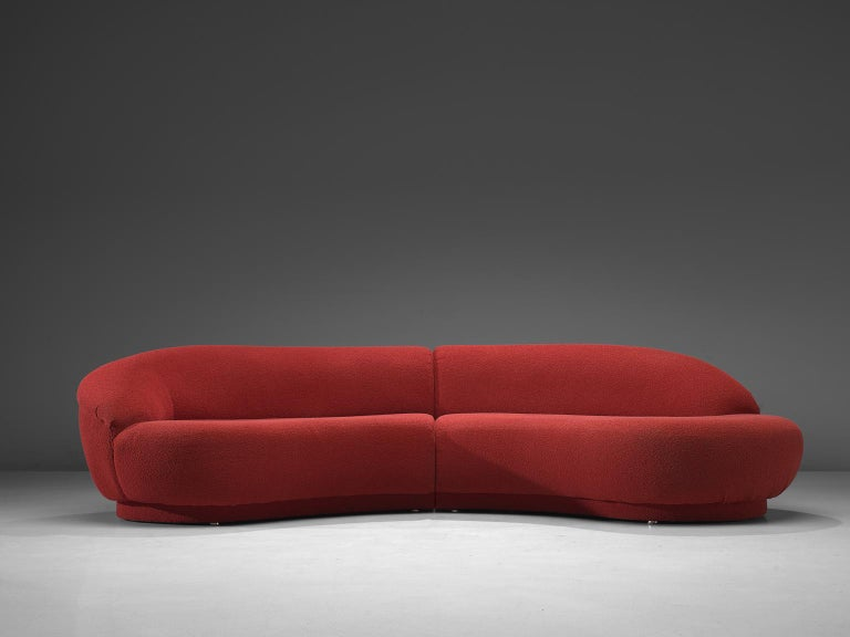 Mid-Century Modern Milo Baughman Red Serpentine Curved Sofa For Sale
