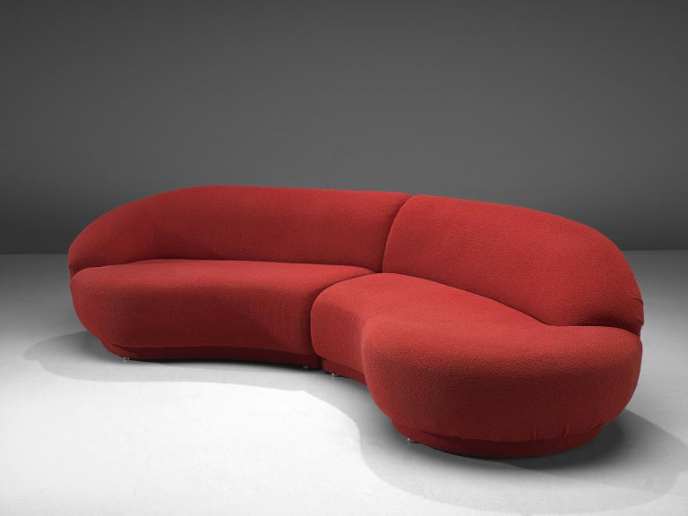 American Milo Baughman Red Serpentine Curved Sofa For Sale