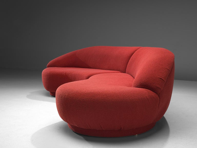Late 20th Century Milo Baughman Red Serpentine Curved Sofa For Sale