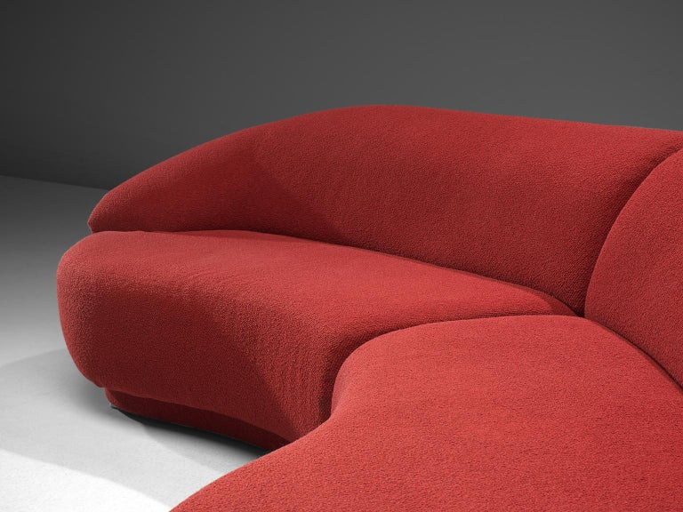 Fabric Milo Baughman Red Serpentine Curved Sofa For Sale