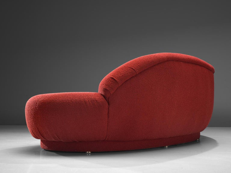 Milo Baughman Red Serpentine Curved Sofa For Sale 1