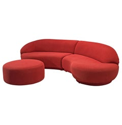 Milo Baughman Red Serpentine Curved Sofa
