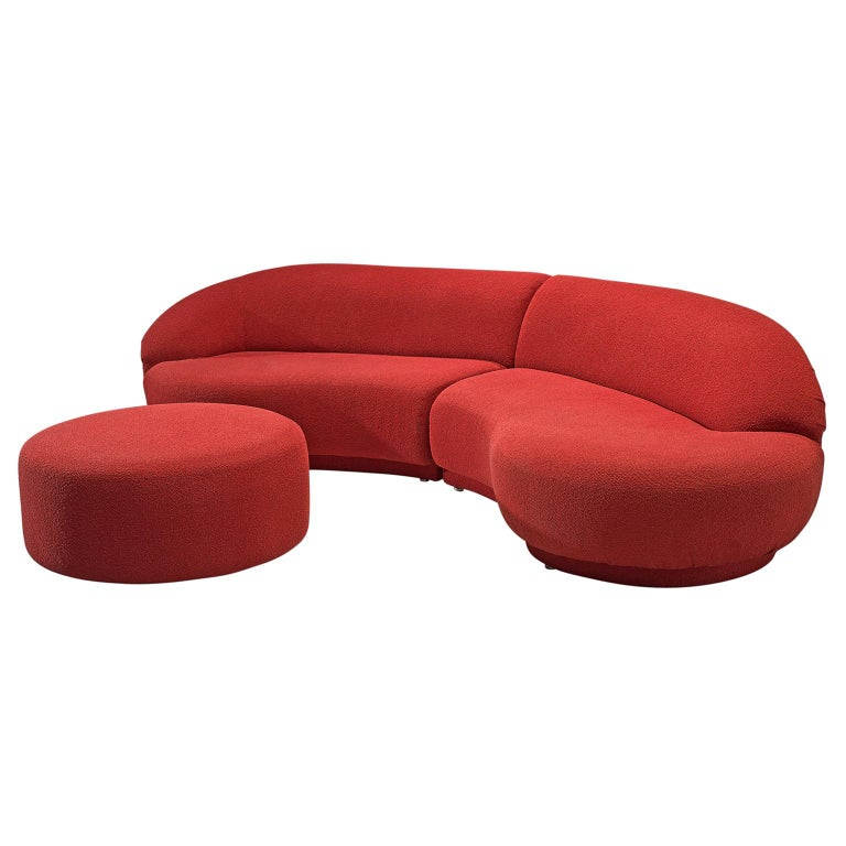 Milo Baughman Red Serpentine Curved Sofa For Sale