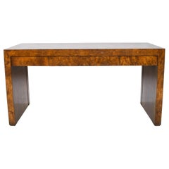 Milo Baughman Rich Burl Wood Desk Entryway Console Table Three Drawers, 1970s