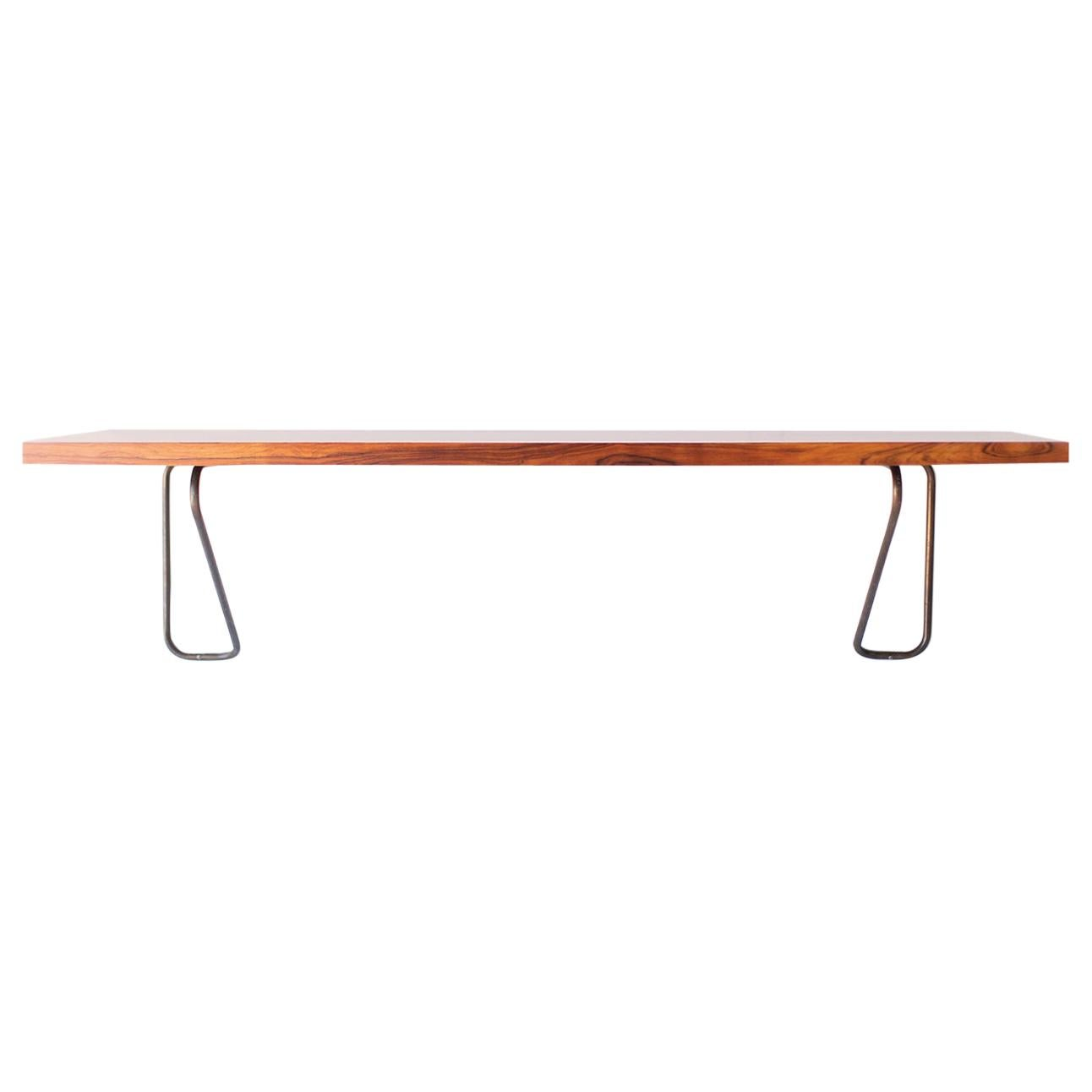 Milo Baughman Rosewood and Brass Floating Desk for Thayer Coggin