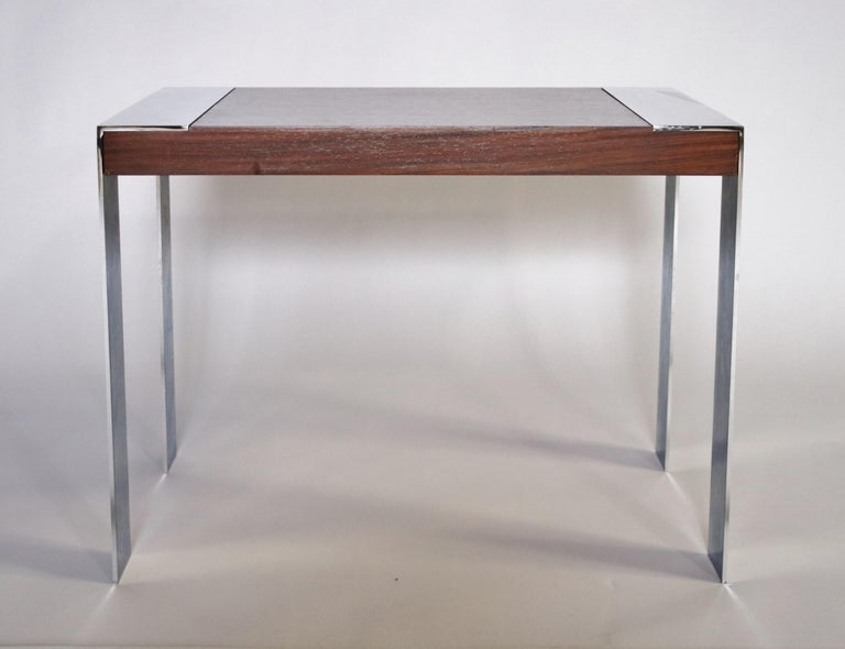 1970s Milo Baughman rosewood and polished chrome side or end table.