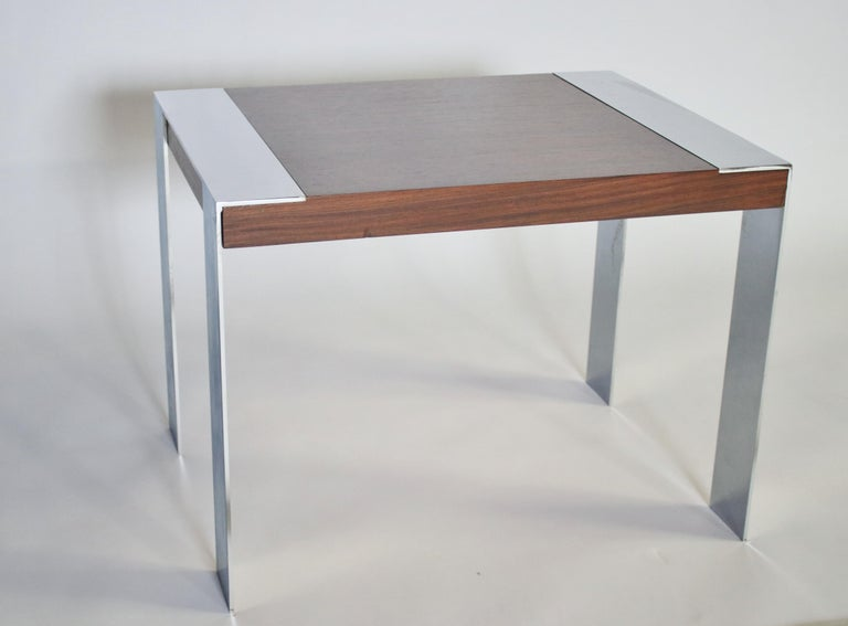 Mid-Century Modern Milo Baughman Rosewood and Chrome Side Table For Sale
