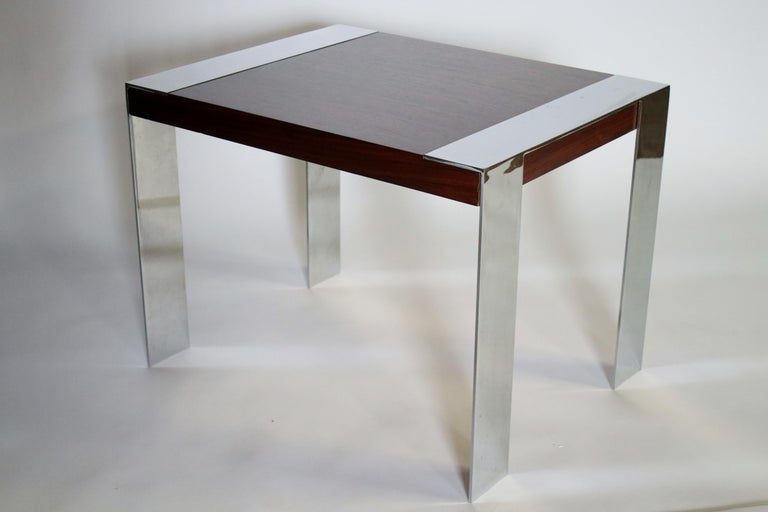 Milo Baughman Rosewood and Chrome Side Table In Excellent Condition For Sale In Chicago, IL